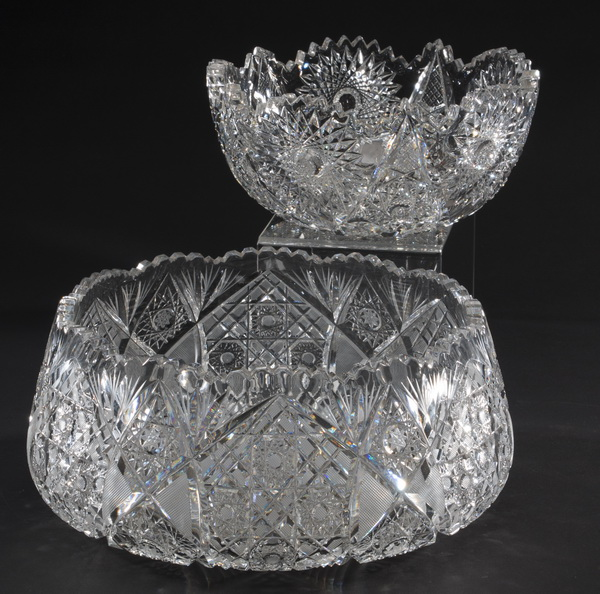 Two Bohemian cut crystal bowls, 9