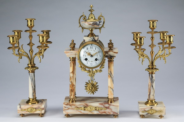 Louis XVI style marble clock and garniture set