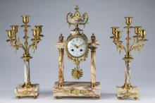 Louis XVI style marble clock and garniture set