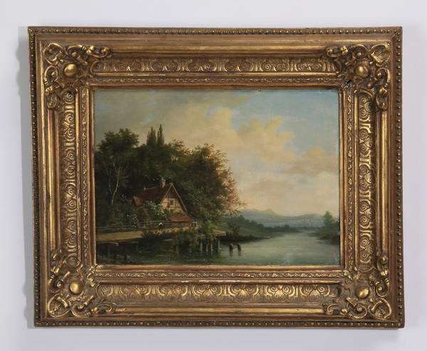 Continental riverscape w/cottage, O/c, 19th c
