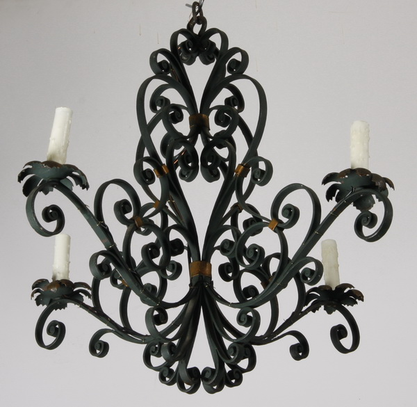 French 4-light wrought iron chandelier
