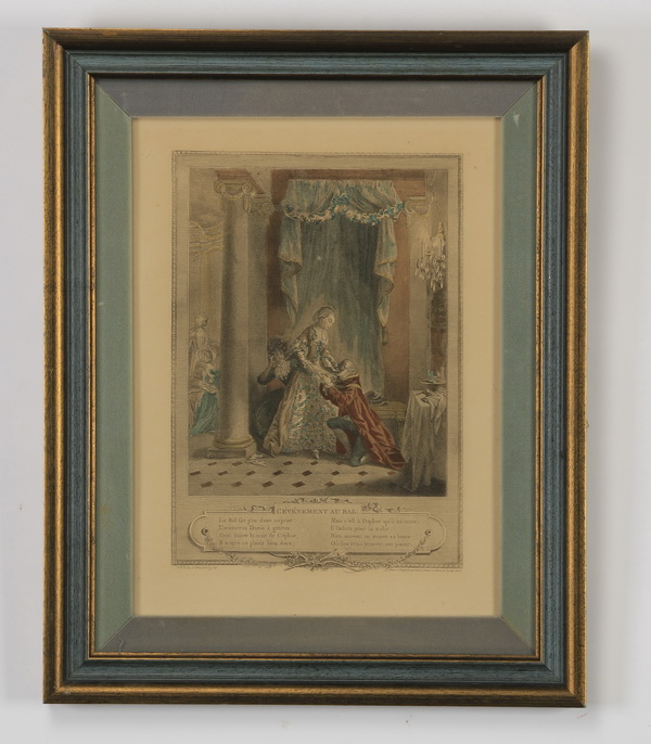 (3) Hand colored Continental etchings
