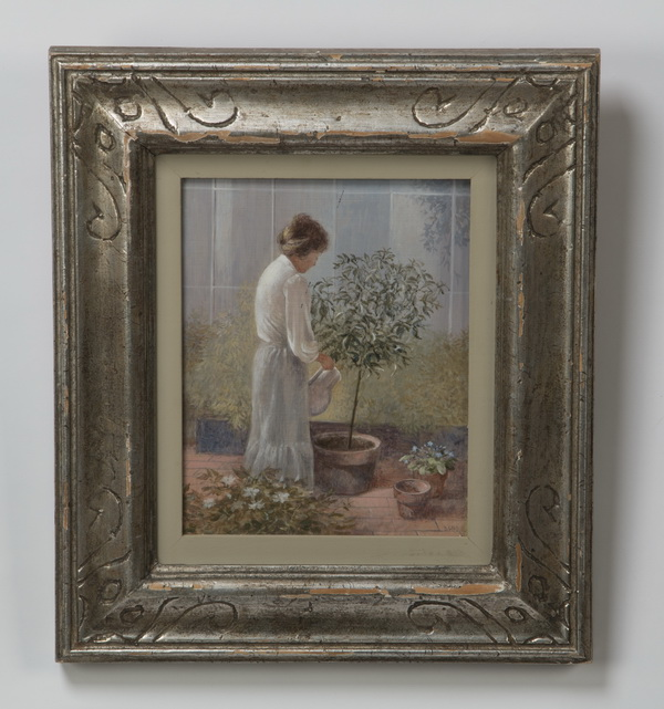 Don Lord, tempera on masonite, 'The Gardener,' signed