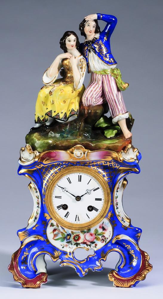 19th c. figural porcelain clock, 16