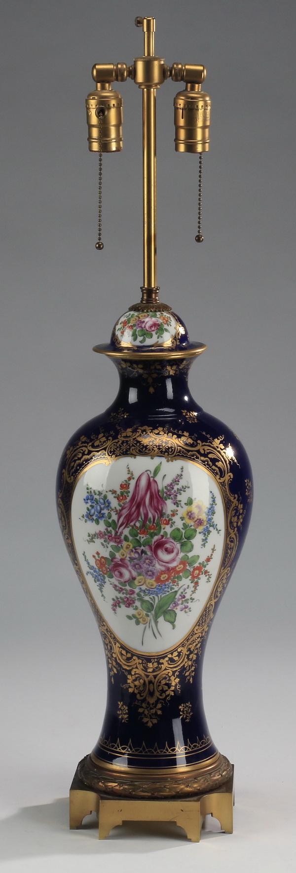 Cobalt porcelain lidded urn lamp, 30