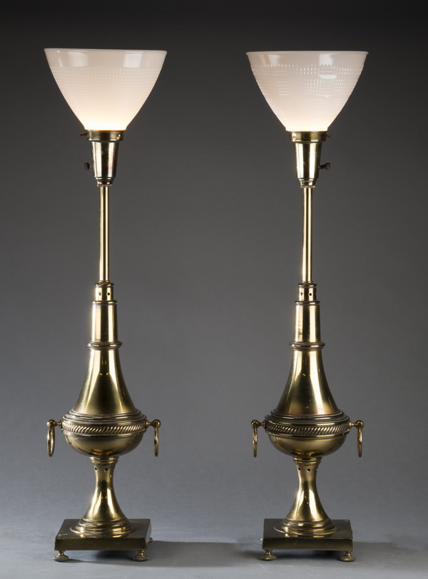Pair of Stiffle brass table lamps, 33