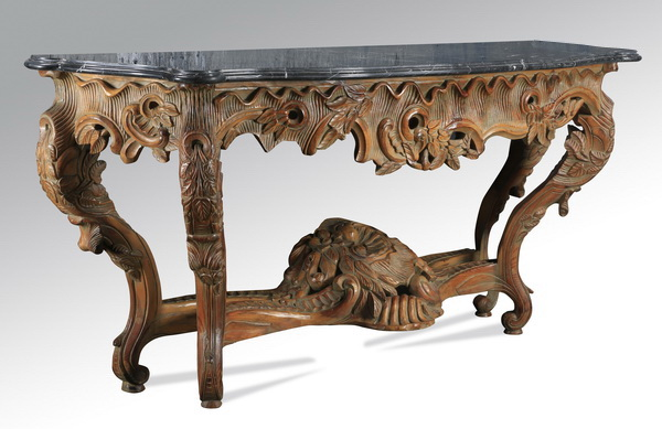 Rococo Revival carved marble top console, 78