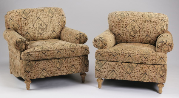 (2) Cheetah and monkey print armchairs