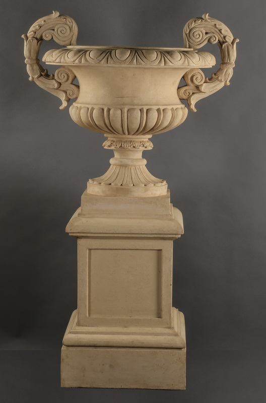 Neoclassical style urn on pedestal, 65