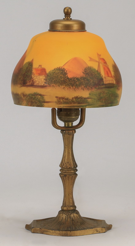 Reverse painted glass boudoir lamp, 14
