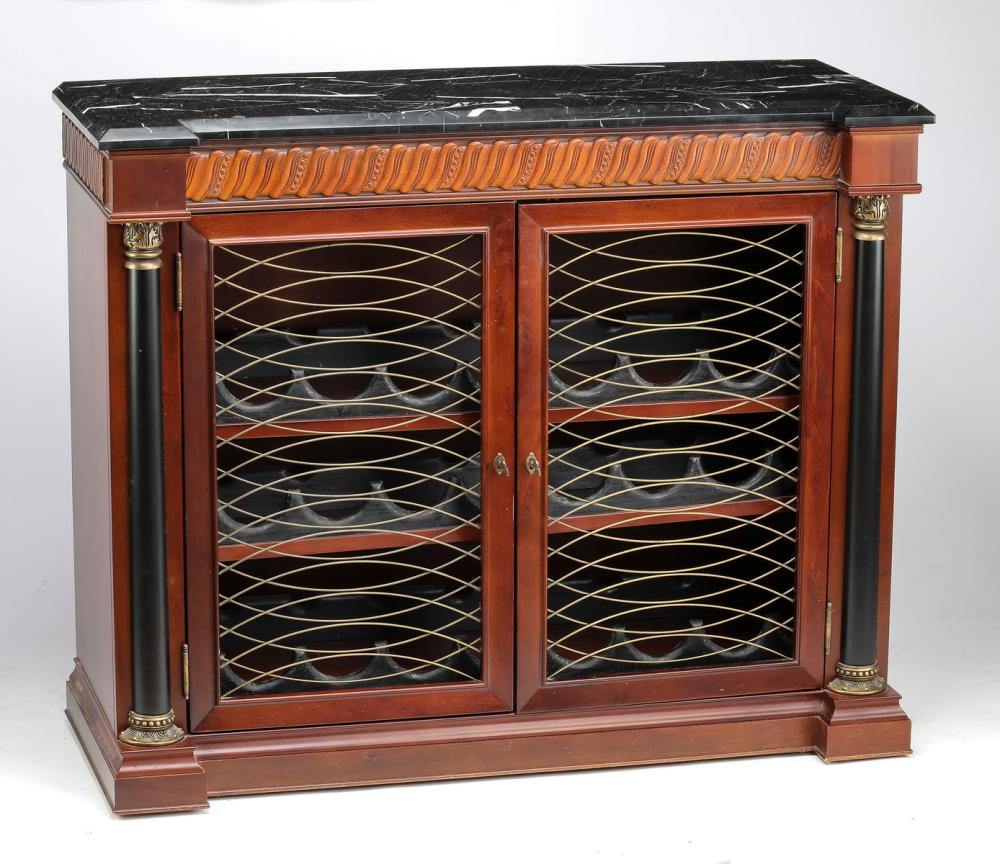Mahogany Wine Cabinet With Black Marble Top