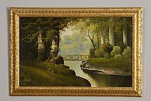 Early 20th c. oil on panel landscape, signed