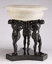 Alabaster and cast bronze figural compote