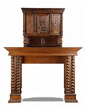 Monumental 19th c. oak mantle, 114
