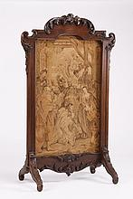 19th c. French carved oak fire screen, 60