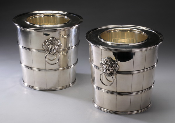(2) English silverplate ice buckets with liners, 8