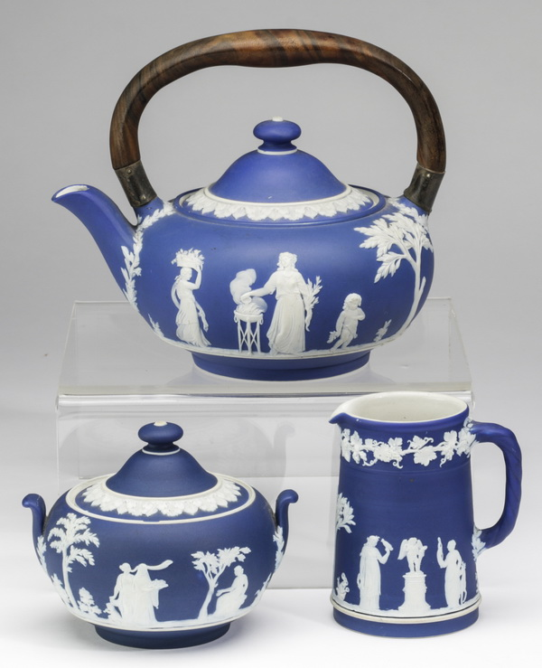 (3) 19th c. Wedgwood jasperware tea articles