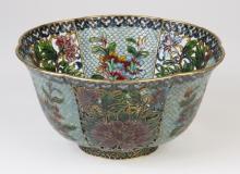 Chinese plique-a-jour enameled bowl, 8
