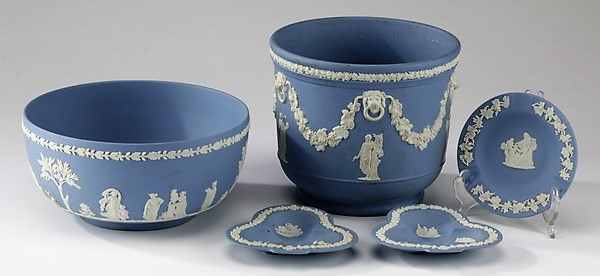 (5) Pieces of Wedgwood blue Jasperware