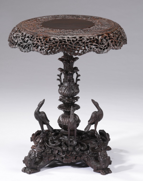 Anglo-Indian carved padouk pedestal table, 28