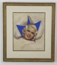 Pastel portrait of Jean Harlow by Mila Baine, framed