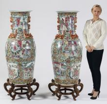 (2) Chinese Rose Canton floor vases, 54
