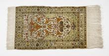 Hand knotted silk on silk Persian prayer rug, 3'3