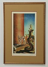 Salvador Dali signed lithograph, surrealistic scene