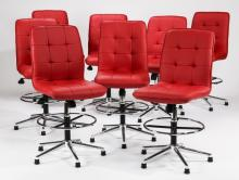 (8) Contemporary upholstered swivel chairs
