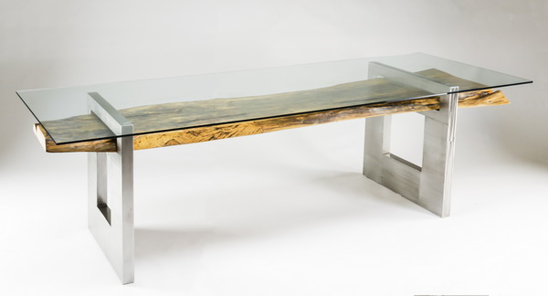 Custom made Tamarind & stainless steel table, 117
