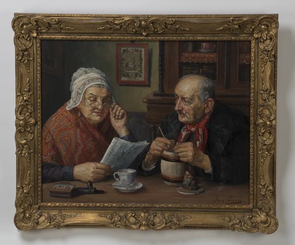Jean Laenen signed O/c, charming domestic scene