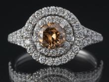 Fancy intense brown & white diamond ring, 1.50ctw
