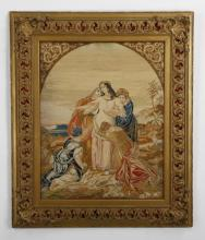 19th c. framed Continental needlepoint