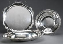 3pc silver serving pieces, sterling and plate