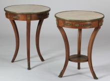 (2) Louis XV style marble top gueridons