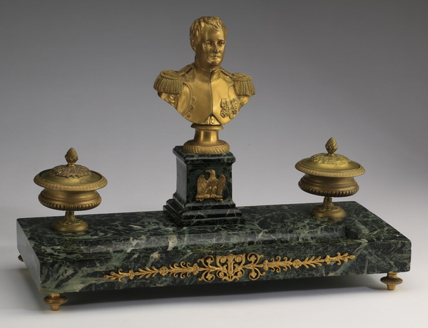 19th c. gilt bronze and marble Napoleon encrier, 16