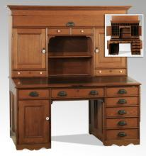 Vintage oak pedestal desk w/ hutchback, 61