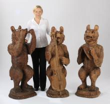(3) Black Forest carved 'musical' bears, 53