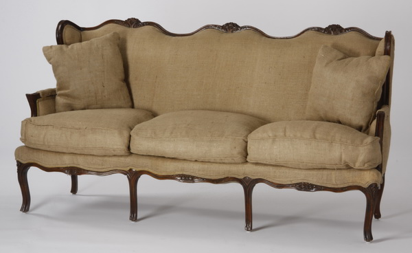 19th c. Louis Phillipe style walnut sofa in burlap