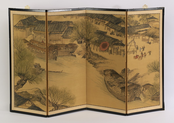 Four panel Chinese painted tabletop or hanging screen