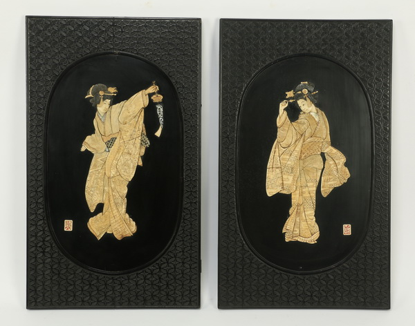 (2) Japanese scrimshaw bone plaques, 30
