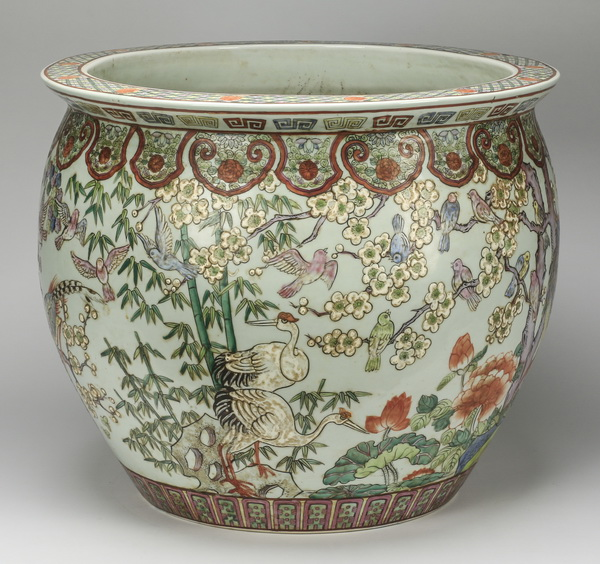 Large Chinese fishbowl with cranes, 23