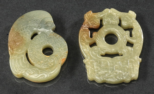 (2) Chinese carved jade pendants