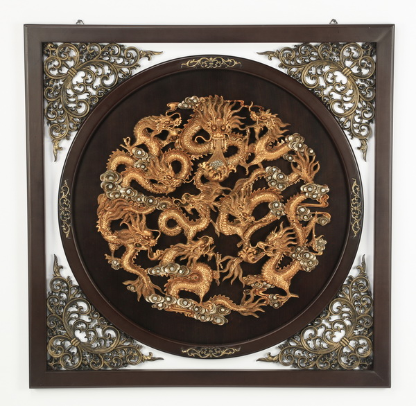 Chinese pierced hanging panel w/dragons, 35