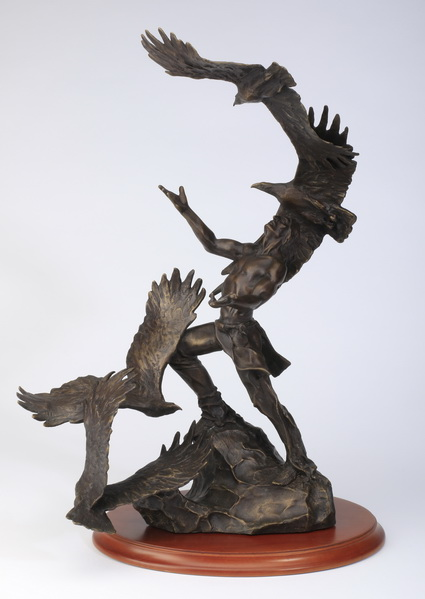 Figural bronze sculpture, 'Soaring Spirits', signed