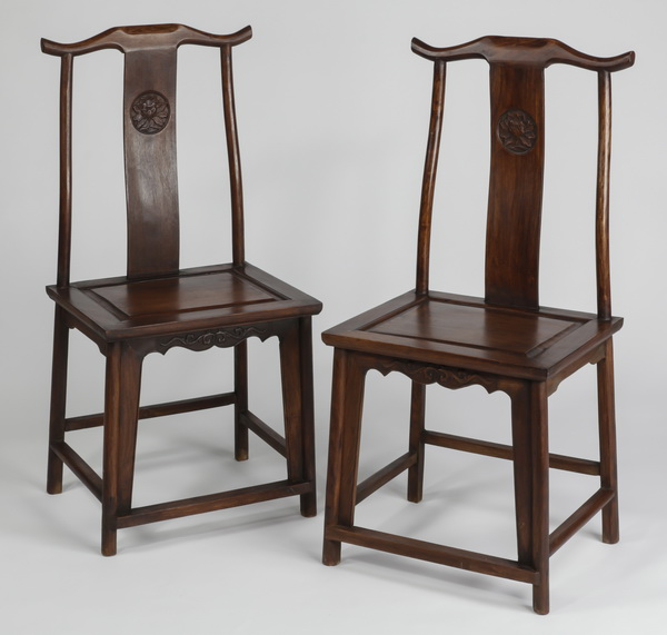 (2) Chinese hardwood 'official's hat' armchairs, 42