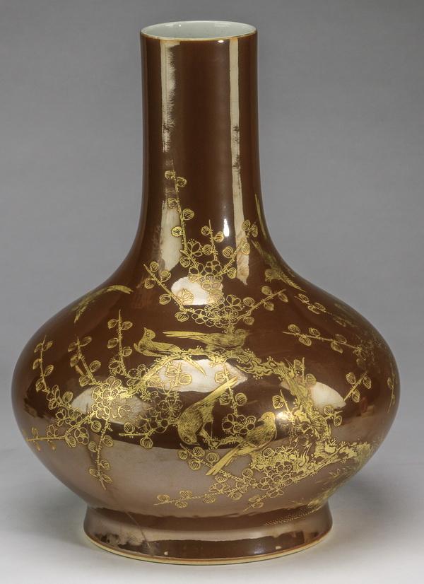 Chinese parcel gilt sparrow, prunus vase, 12