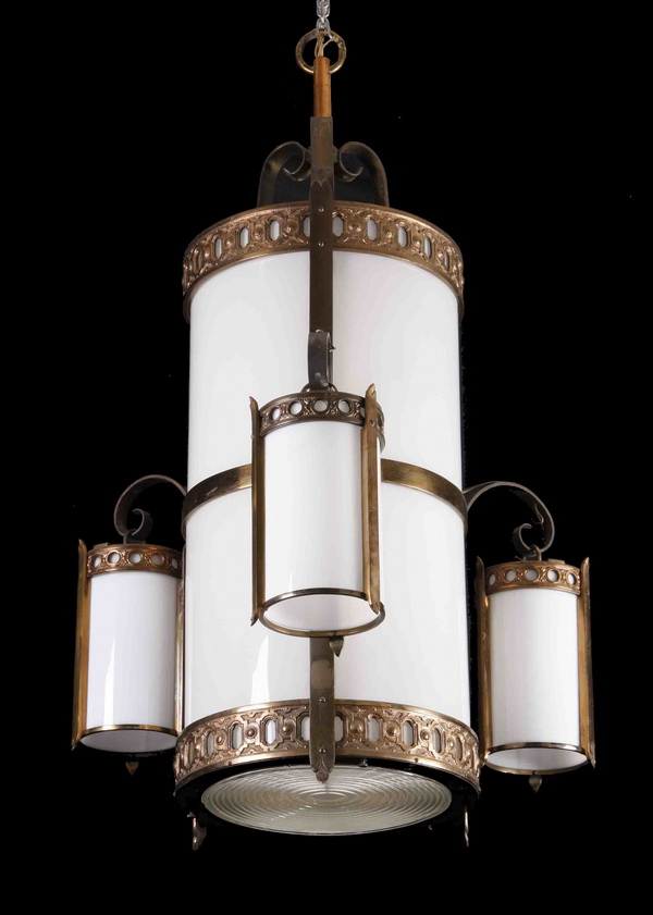 Early 20th c. bronze, milk glass chandelier, 48