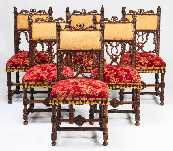 (6) French carved walnut chairs, 19th c.