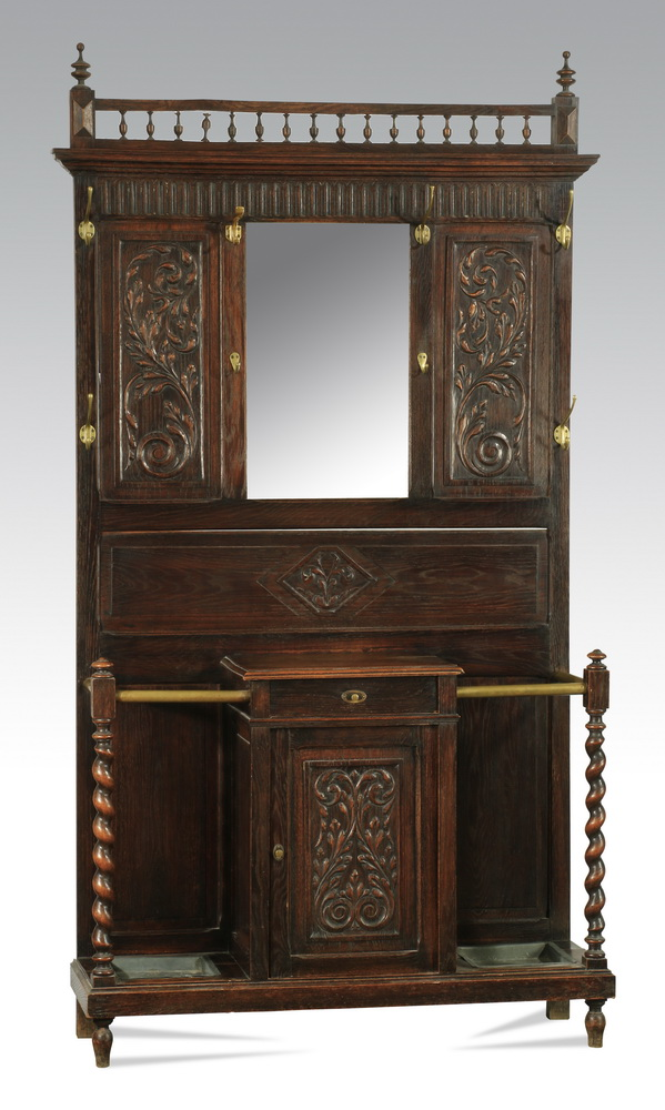 19th c. Victorian carved walnut hall tree, 84